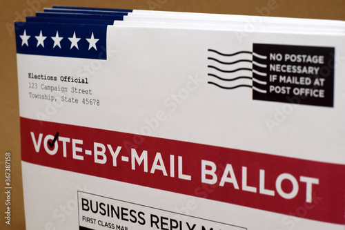 Mockup of Vote by Mail Ballot envelopes and application letter to vote by mail for election Fototapeta