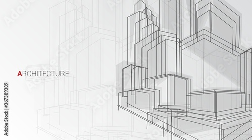 Obraz Vector Background With Abstract Architectural Sketch Of Buildings, Panorama - fototapety do salonu