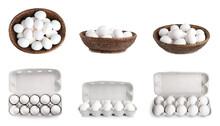 Set Of Fresh Eggs On White Background, Banner Design