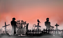 Halloween Related Landscape With Undead People, Graveyard Gates, Fence And Tombs Between Field Grass. Zombies Walking Through The Red Dawn Mist. Vector Silhouette Illustration.