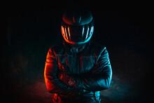Motorcyclist With Black Helmet...