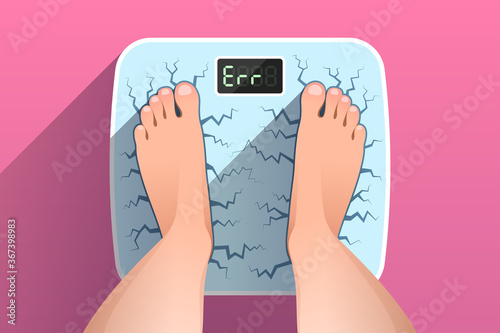 Canvas Print Top view of feet of woman standing on broken cracked weight scales