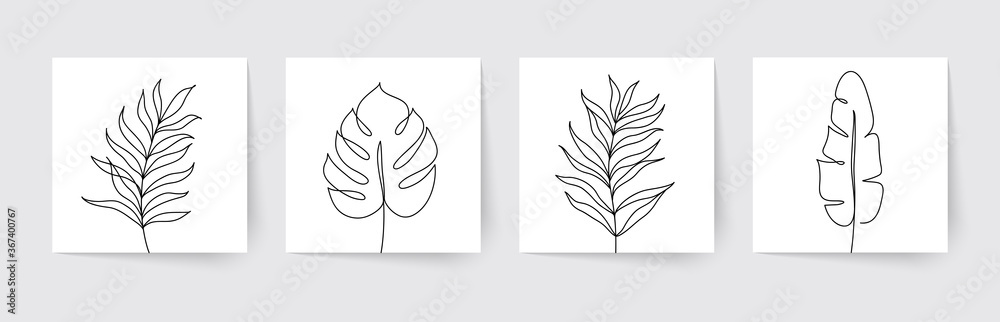 Fototapeta One line drawing of tropical palm leaves. Modern single line art. Vector illustration.