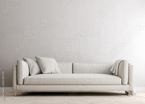 Fototapeta white concrete mock-up wall with white fabric sofa and pillows, modern interior, negative copy space above, 3d rendering, 3d illustration obraz na płótnie