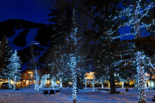 Lights On Trees In Jackson Wyoming Town Square In Winter At Twilight With Groomers On Snow King Mountain