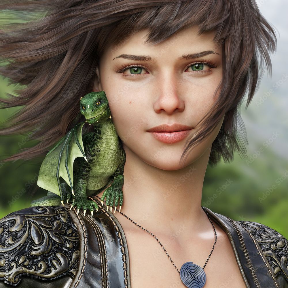 Fototapeta Portrait of a fantasy female and her mythical little dragon .3d rendering