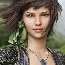 Portrait Of A Fantasy Female And Her Mythical Little Dragon .3d Rendering