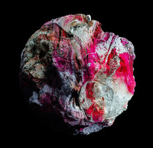 3d Render Of Abstract Art Of Surreal Geology Mineral Organic Stone In Spherical Shape With Rough Grunge Damaged Scratched Dirty Surface In Pink White Green Purple Color On Isolated Black Background