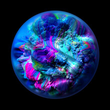 3d Render Of Abstract Art Of Surreal 3d Planet Or Ocean Life Organism Or Coral Reef Inside Glass Sphere With Blur Effect On The Edges In Super Intensive Blue And Purple Color On Black Background