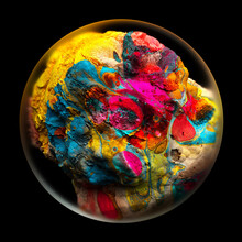 3d Render Of Abstract Art With Glass Sphere With Blur Effect On The Edges Or Planet Earth With Rough Surface Or Sea Life Coral Reef In Organic Shape In Blue Yellow And Pink Color On Black Background