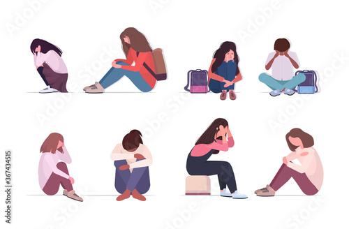 Foto set depressed mix race people crying depression problems stress psychotherapy bu