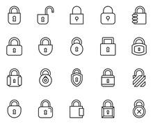 Lock Line Icon Set