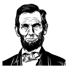 Vector Drawing Face Portrait Illustration For Abraham Abe Lincoln In Black White