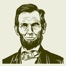Vector Drawing Face Portrait Illustration For Abraham Abe Lincoln In Sephia Tone