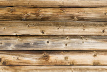 Grunge Wood Texture. Brown Wooden Wall Background. Rustic Tree Desk Pattern. Countryside Architecture Wall. Village Building Construction.
