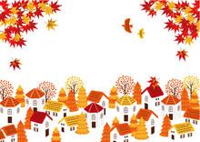 秋の街並み 背景イラ...
