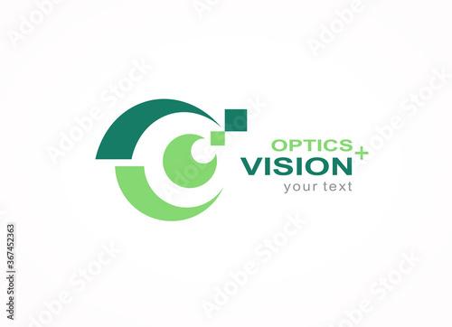Obraz Optics vision logo design symbol emblem, silhouette eye symbol icon vector - fototapety do salonu