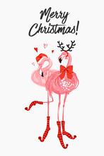 Christmas Santa And Deer Flami...