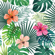 Seamless Exotic Pattern With Tropical Palm, Banana, Monstera Leaves And Rose, Beige And Pink Hibiscus Flower On A White Background Green Vector Style. Hawaiian Tropical Natural Floral Wallpaper