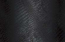 Luxury Black Metal Gradient Background With Distressed Crocodile, Snake, Alligator Skin Leather Texture.
