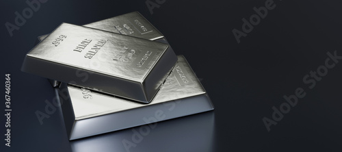 Obraz Close up view of Silver bars or ingots in bank vault background. Precious metal.3D illustration  - fototapety do salonu