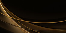 Abstract Fractal Dark Background For Design With Linear Golden Waves