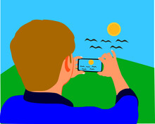A Man Cartoon Clicking Picture From Smart Phone Around Natural Beautiful Background.