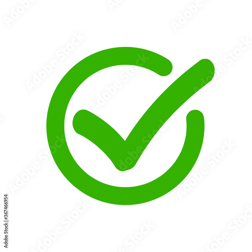 Tablou Canvas Check mark vector tick green icon in circle approved symbol, checkmark accepted