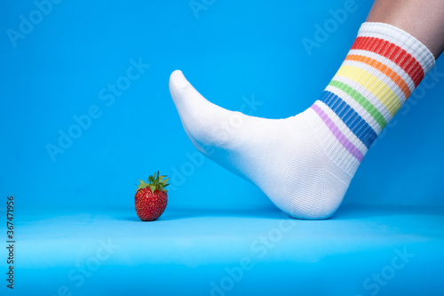 Concept image of squashed fresh red strawberry, allegory Canvas Print