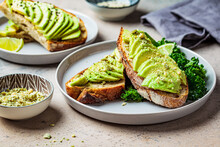 Avocado Toasts With Seeds On A...