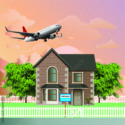 Fototapeta Detached residential home for sale due to noise levels from low flying commercial aircraft from a nearby airport set against a dawn or dusk sky obraz