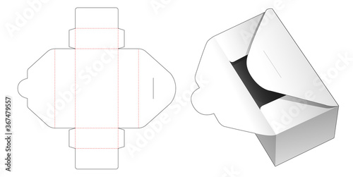 Photo Cardboard delivery mail box die cut template