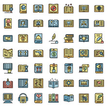 Literary Genres Icons Set. Outline Set Of Literary Genres Vector Icons Thin Line Color Flat On White