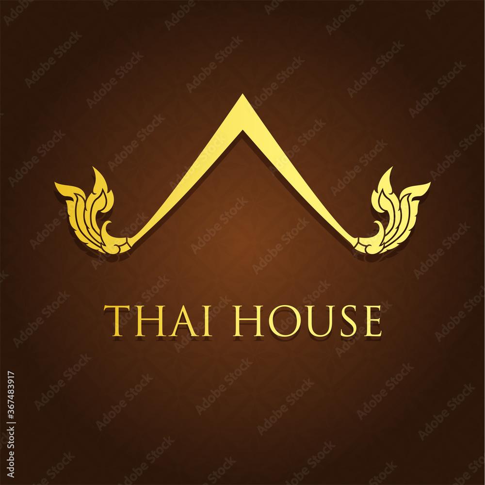 Fototapeta Thai traditional house logo, Thai element design. Vector