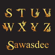Golden Elegant Letter S, T, U,...