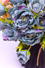 Blue And Cream Peonies In A Bl...
