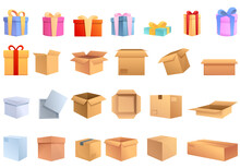 Box Icons Set. Cartoon Set Of ...