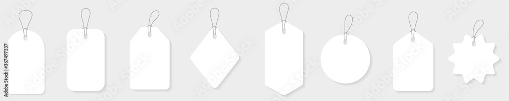 Fototapeta Blank white paper price tags or gift tags in different shapes.