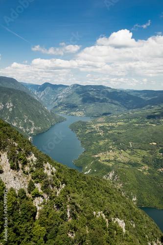 Perucac lake and river Drina from Tara mountain in Serbia