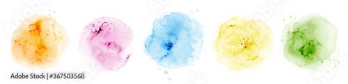 Fotografia Set of hand-painted splash pastel watercolor