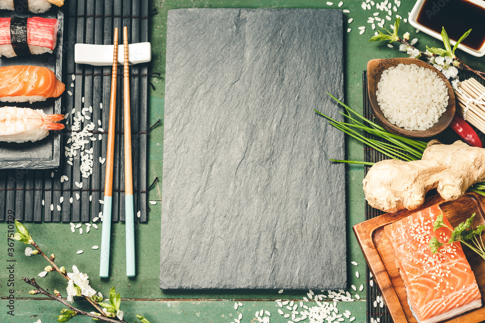 Fototapeta Asian food background sushi and ingredients, top view