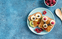 Funny Breakfast Toast For Kids Shaped As Cute Owl, Dog. Food Art Sandwich For Child. Isolated. Animal Faces Toasts With Spreads, Fruits