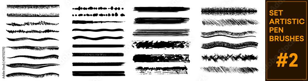 Fototapeta Brush stroke set isolated on white background. Collection of brush stroke for black ink paint, grunge backdrop. Sketch underlines. Crosshatch pen brush lines, pencil textured strokes. Vector set