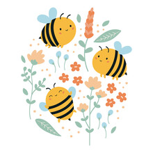Set Of Vector Funny Kawaii Bees With Flowers And Leaves. Summer Illustration For Children. Hand Drawn Doodle Plants. Cartoon Character.