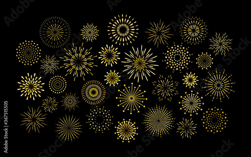 Sparkle art deco star shape fireworks burst pattern collection. Gold star shaped firework pattern isolated collection. Carnival celebration firecracker explosion, birthday party festive decoration.