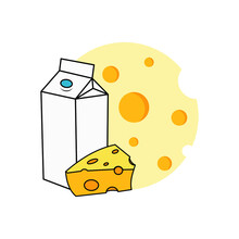 Cheese Vector Yellow Cheddar Dairy Milk Food Slice Culinary Icon Bakery And Pastry Ingredient Design Template