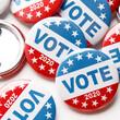 Leinwandbild Motiv Close up of voting pins for 2020 US elections on white