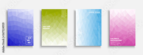Obraz Set of colorful gradient abstract covers, templates, backgrounds, placards, brochures, banners, flyers and etc. Polygonal vector posters - trendy bright design - fototapety do salonu