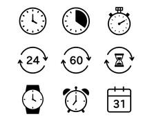 シンプルな時計のアイコンのセット/タイマー/ストップウォッチ/時間/目覚まし時計