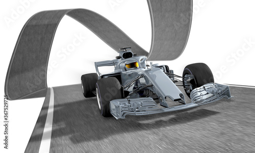 Obraz silver f1 racecar on a wired track 2 - fototapety do salonu